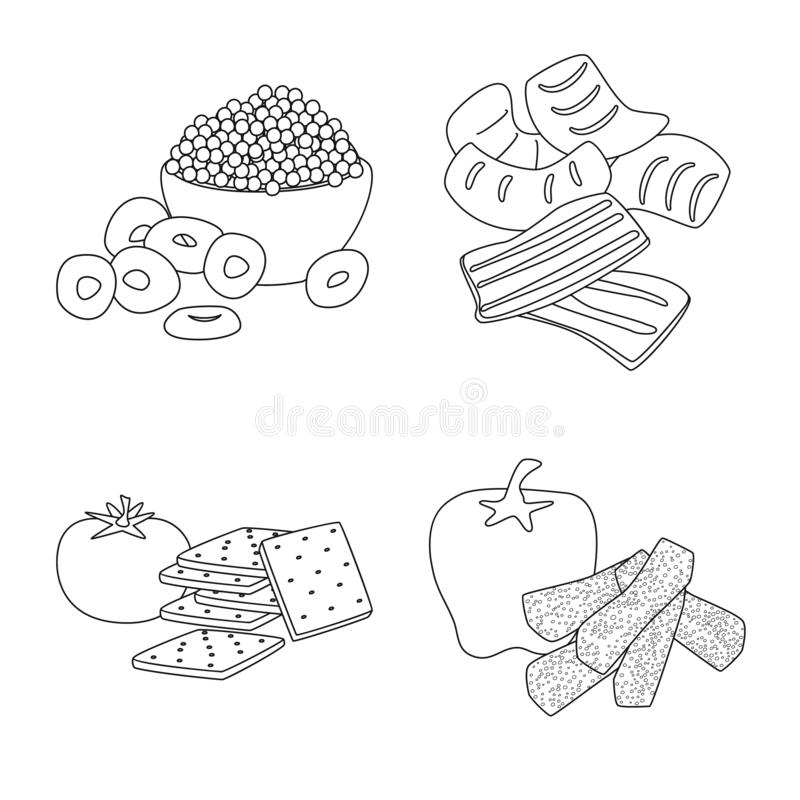 Vector illustration of taste and crunchy sign. Collection of taste and cooking stock symbol for web. Isolated object of taste and crunchy logo. Set of taste and royalty free illustration