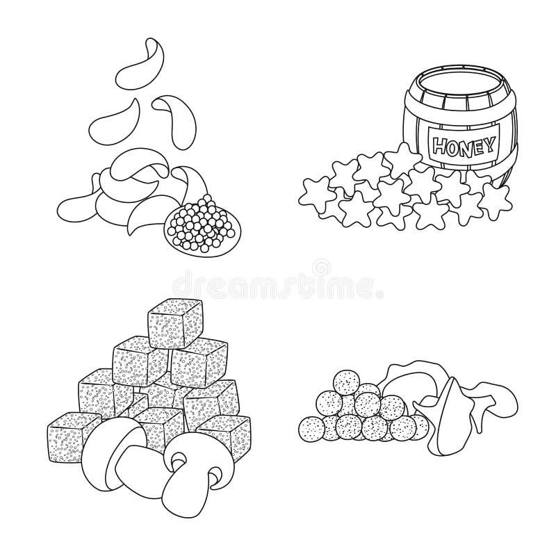 Vector design of taste and crunchy symbol. Set of taste and cooking stock symbol for web. Vector illustration of taste and crunchy sign. Collection of taste and royalty free illustration