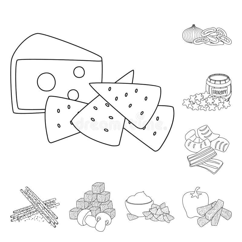 Vector illustration of taste and crunchy sign. Set of taste and cooking stock vector illustration. Isolated object of taste and crunchy logo. Collection of vector illustration