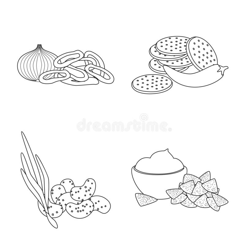 Vector design of taste and crunchy icon. Collection of taste and cooking vector icon for stock. Vector illustration of taste and crunchy symbol. Set of taste royalty free illustration