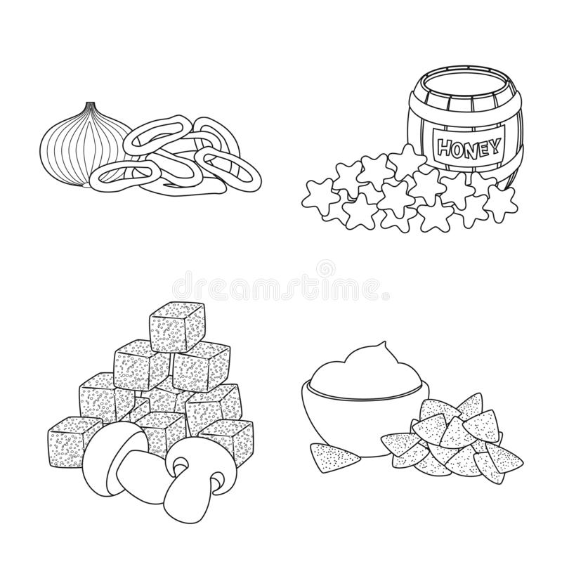 Vector illustration of taste and crunchy symbol. Set of taste and cooking vector icon for stock. Isolated object of taste and crunchy sign. Collection of taste stock illustration