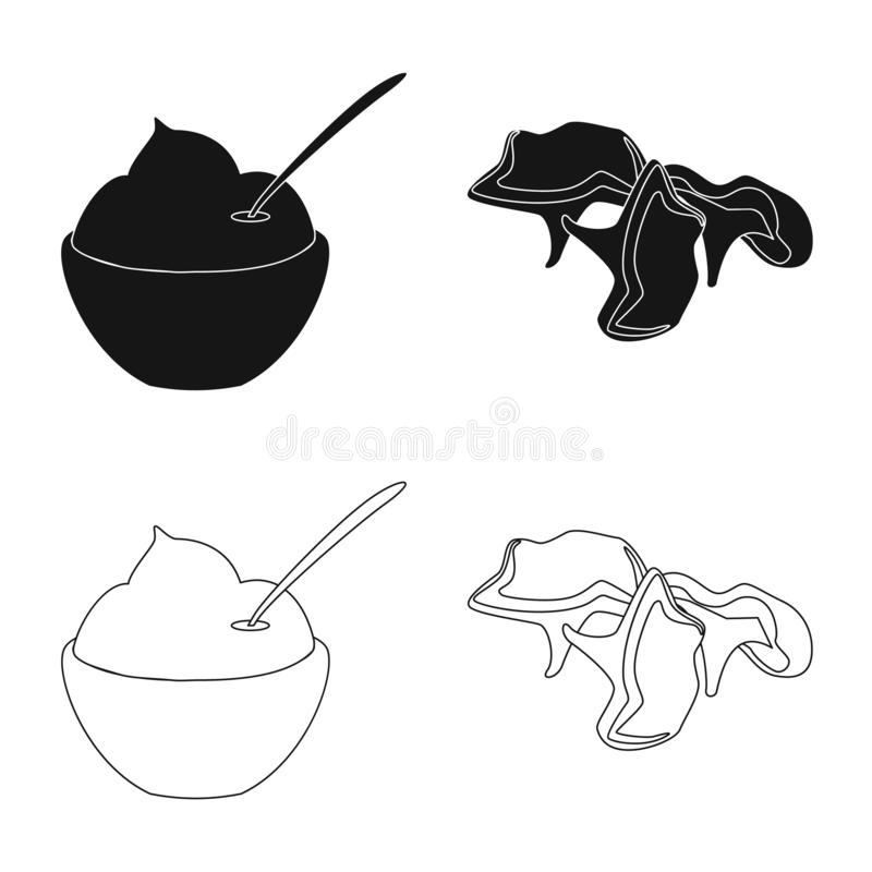 Vector illustration of taste and product icon. Collection of taste and cooking vector icon for stock. Isolated object of taste and product symbol. Set of taste royalty free illustration