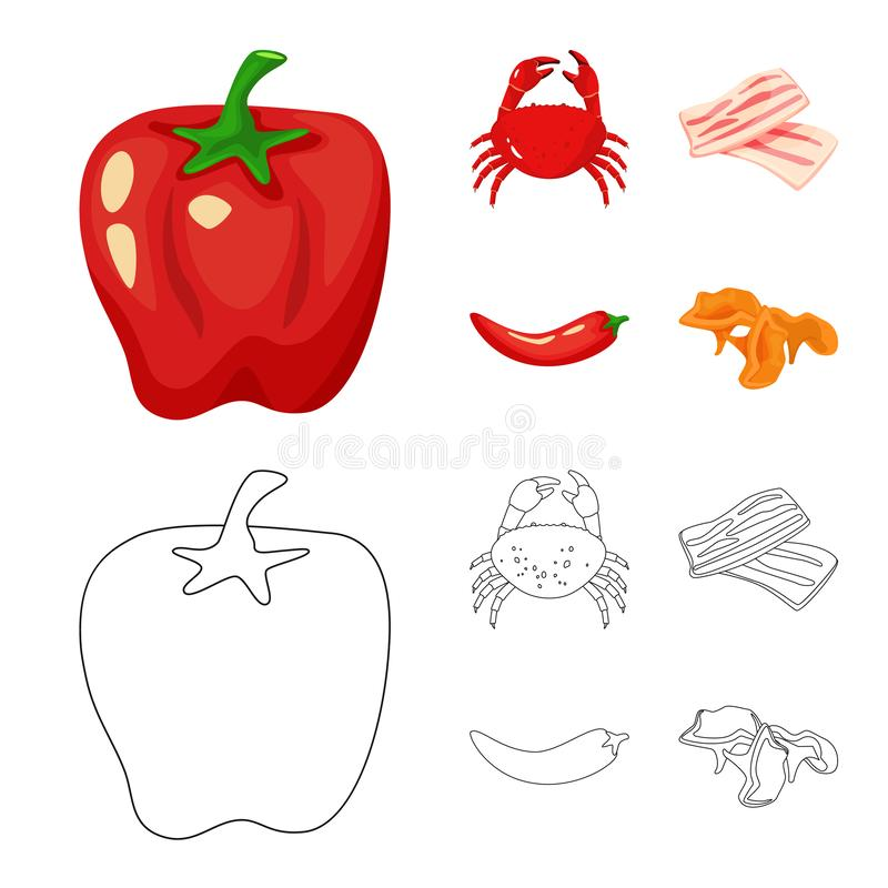 Vector illustration of taste and product icon. Set of taste and cooking vector icon for stock. Isolated object of taste and product symbol. Collection of taste stock illustration