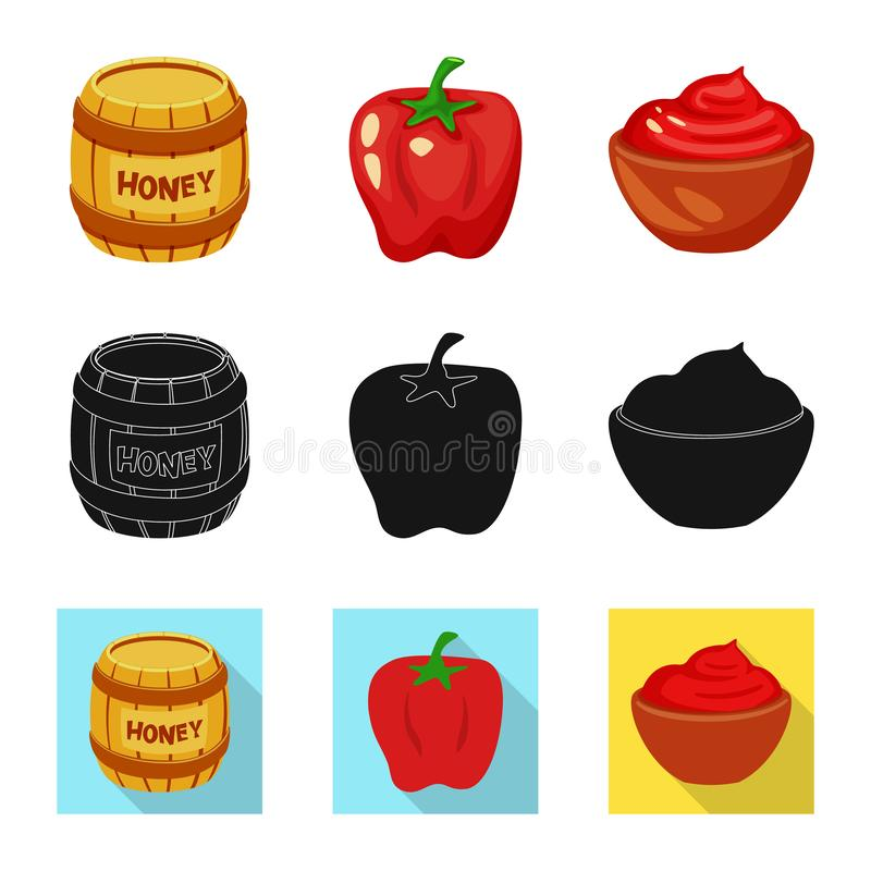 Vector illustration of taste and product icon. Set of taste and cooking stock symbol for web. Isolated object of taste and product symbol. Collection of taste royalty free illustration