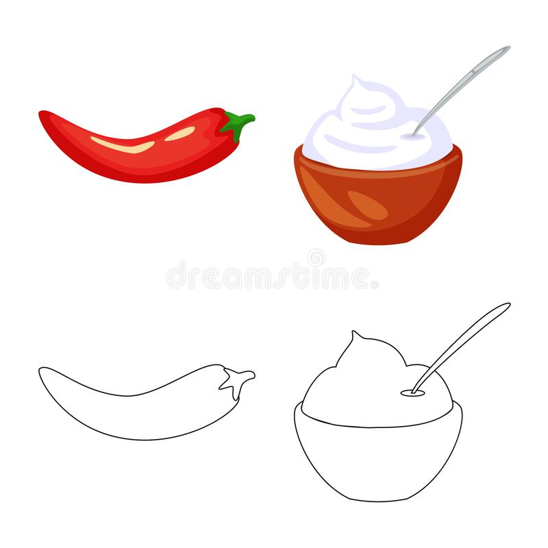 Vector design of taste and product symbol. Set of taste and cooking stock symbol for web. Vector illustration of taste and product sign. Collection of taste and royalty free illustration