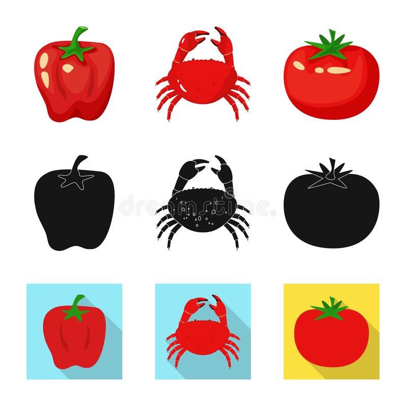 Vector design of taste and product symbol. Set of taste and cooking vector icon for stock. Vector illustration of taste and product sign. Collection of taste vector illustration