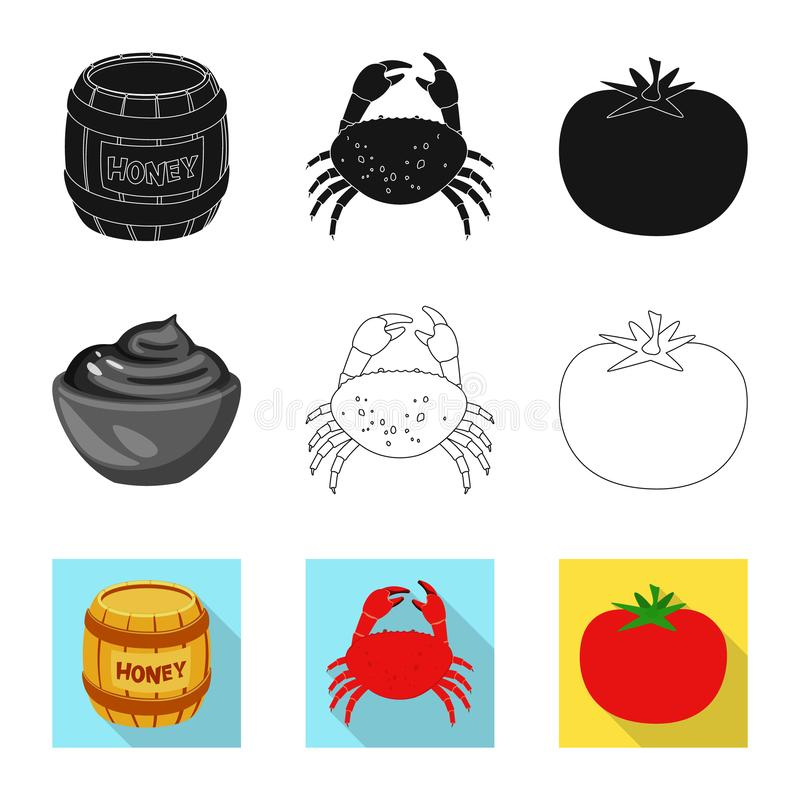 Vector design of taste and product icon. Set of taste and cooking stock symbol for web. Vector illustration of taste and product symbol. Collection of taste and vector illustration