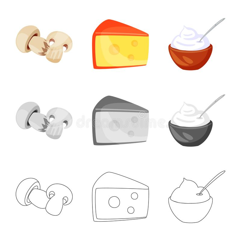 Vector design of taste and product icon. Set of taste and cooking stock symbol for web. Vector illustration of taste and product symbol. Collection of taste and stock illustration