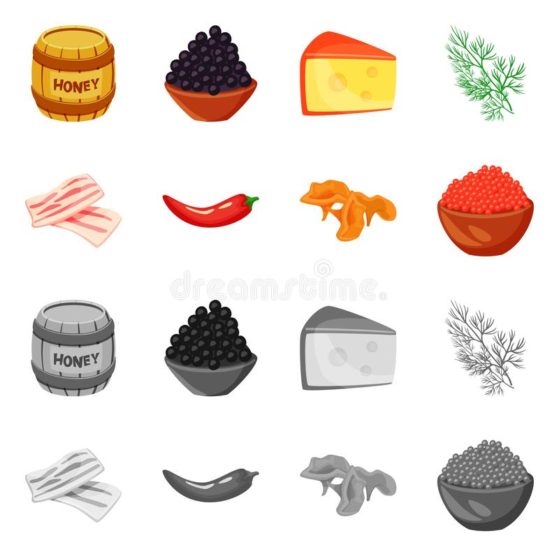 Vector illustration of taste and product symbol. Collection of taste and cooking stock vector illustration. Isolated object of taste and product sign. Set of stock illustration
