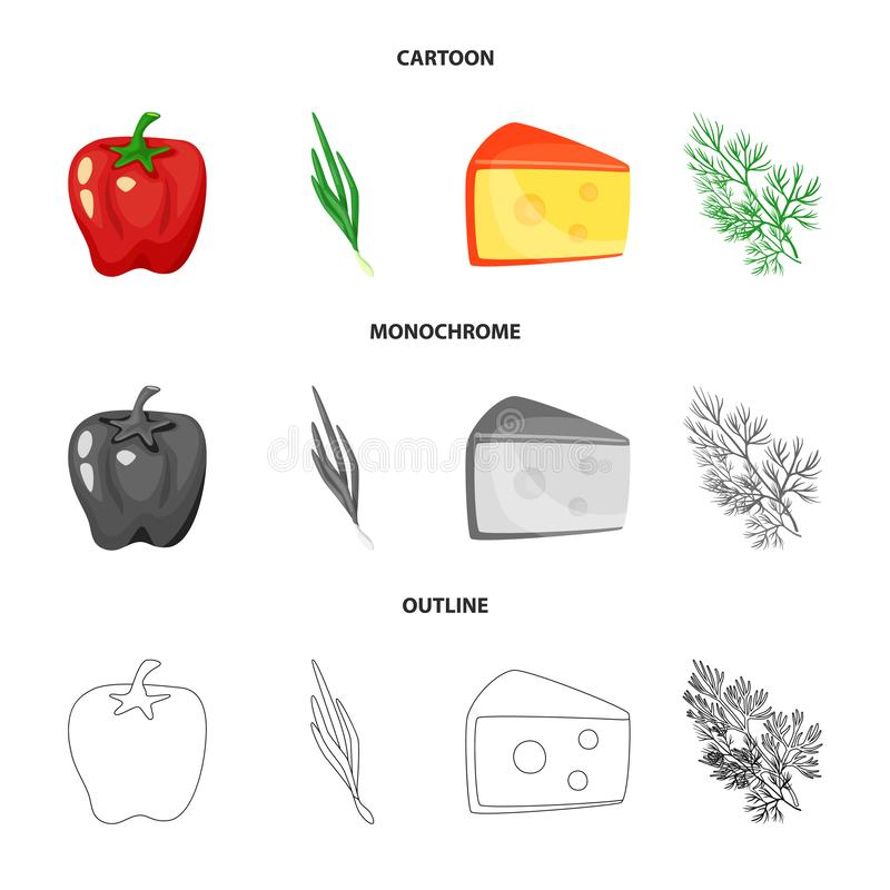 Vector illustration of taste and product symbol. Collection of taste and cooking stock symbol for web. Isolated object of taste and product sign. Set of taste stock illustration
