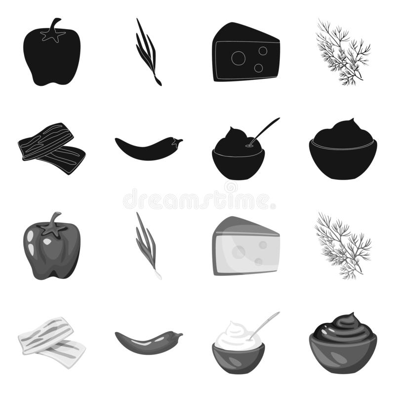 Vector design of taste and product icon. Collection of taste and cooking stock symbol for web. Vector illustration of taste and product symbol. Set of taste and stock illustration