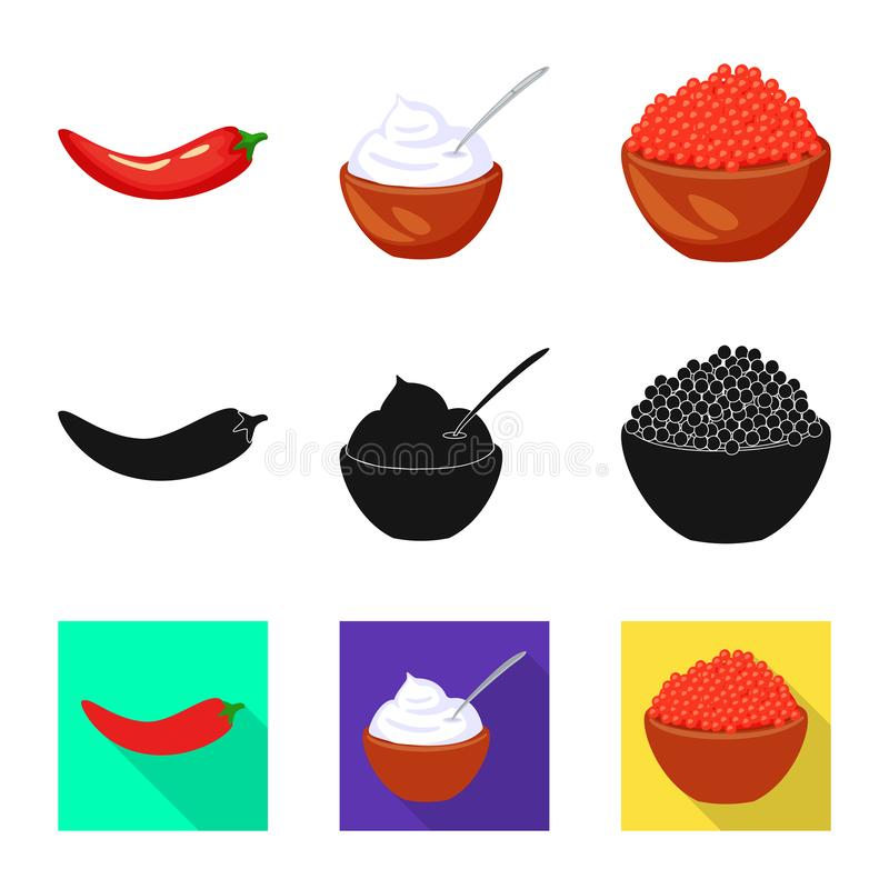 Vector design of taste and product icon. Collection of taste and cooking vector icon for stock. Vector illustration of taste and product symbol. Set of taste stock illustration