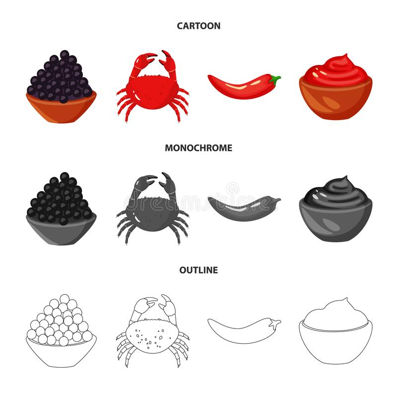 Vector design of taste and product icon. Collection of taste and cooking vector icon for stock. Vector illustration of taste and product symbol. Set of taste vector illustration