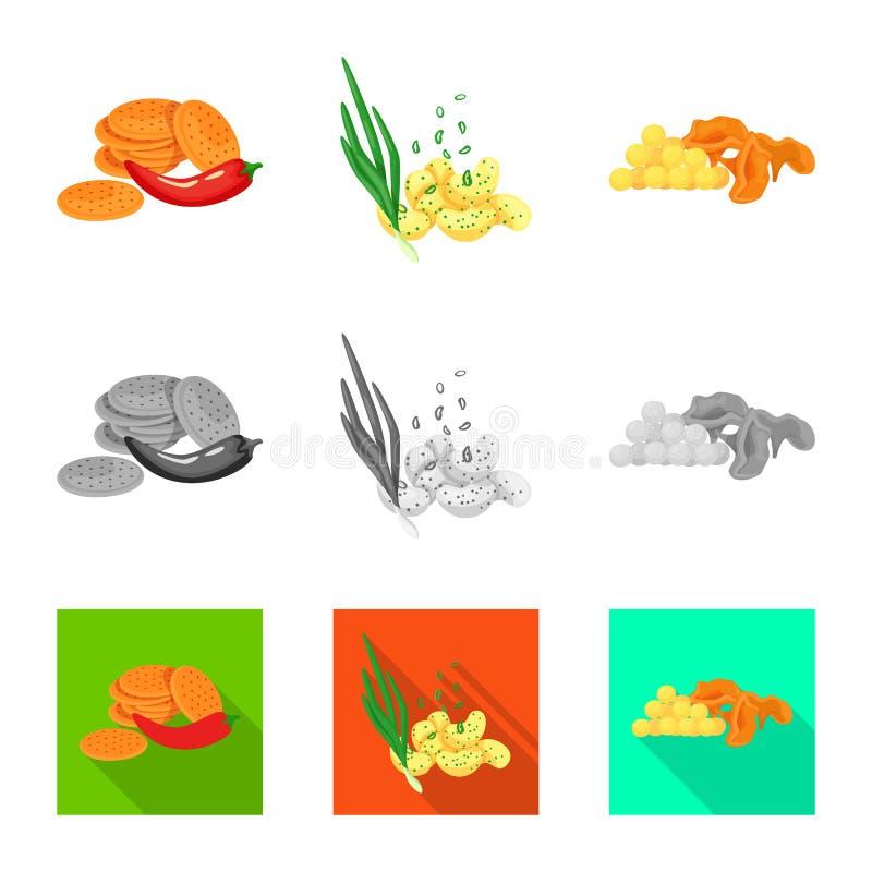 Vector illustration of taste and seasonin logo. Collection of taste and organic vector icon for stock. Isolated object of taste and seasonin icon. Set of taste royalty free illustration