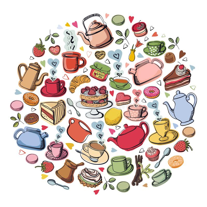 Vector Illustration Tea party with sweet desserts, cakes and donuts Coffee and fruits. Set stock illustration
