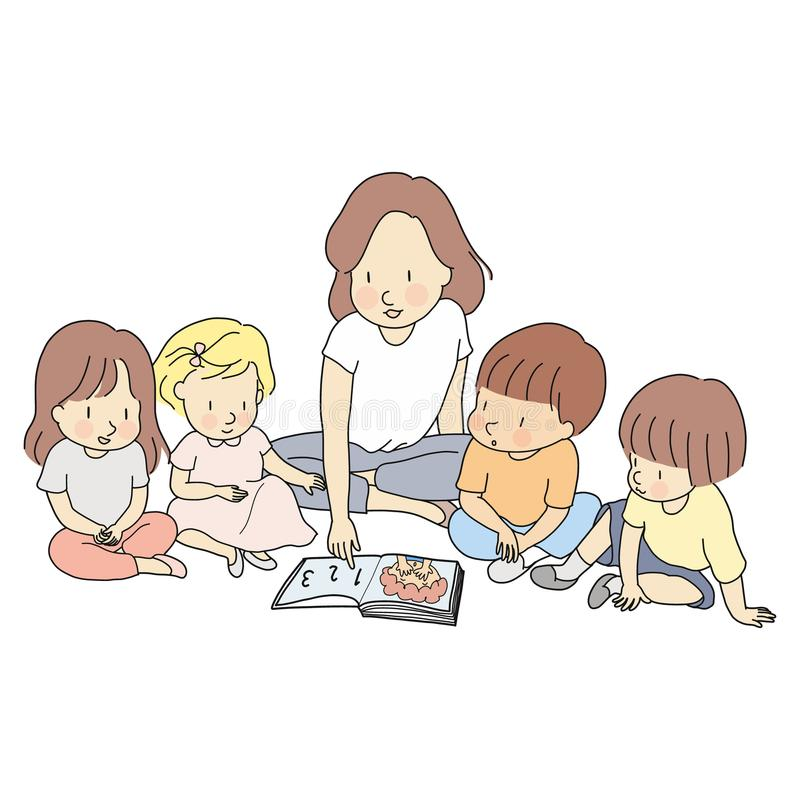 Vector illustration of teacher & little students reading books together. Early childhood development, learning & education royalty free illustration