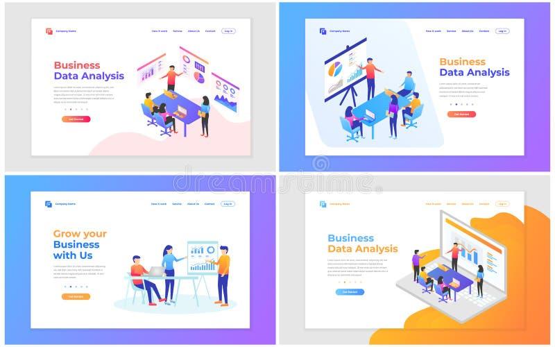 vector illustration of teamwork, business analysis and strategy. Set of modern vector illustration concepts for website and mobile stock illustration