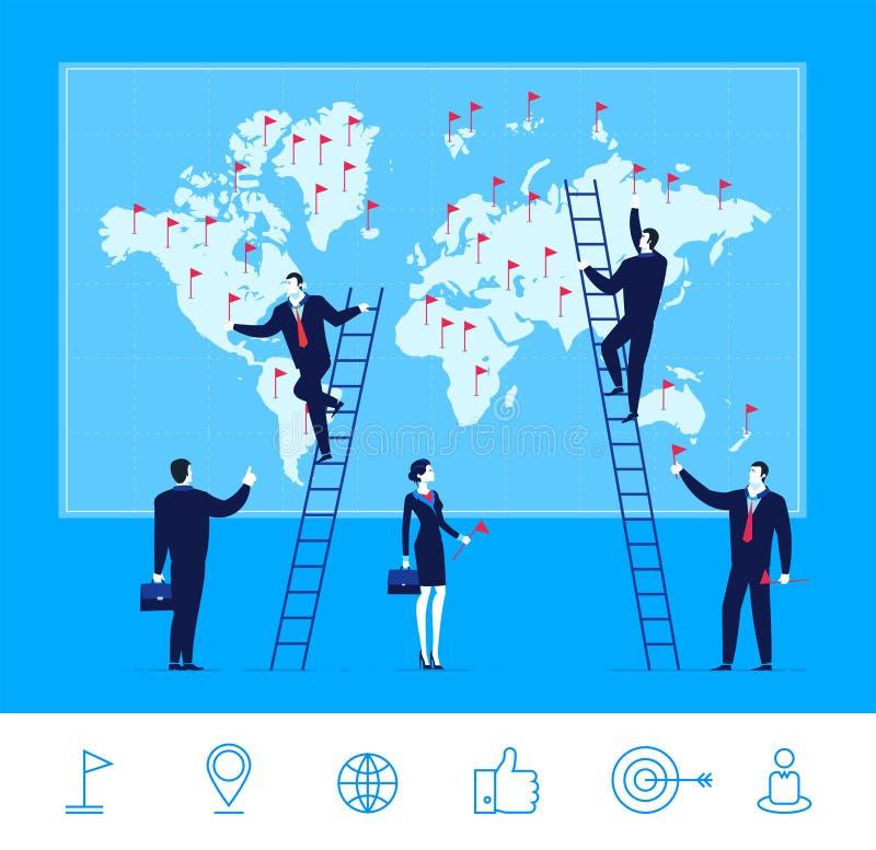 Vector illustration of teamwork. Business team make marks on the map vector illustration
