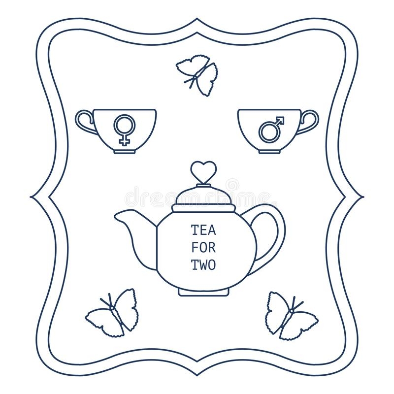 Vector illustration with teapot and two cups of tea with gender signs, butterflies. Tea for two. Happy Valentine's Day. Design fo royalty free illustration