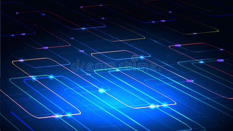 Vector illustration of a techno technology design of luminous lines on a dark blue background. The modern concept of. Digital technology stock illustration