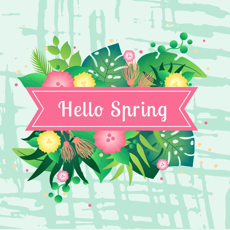 Template card hello spring with tropical leafs stock illustration