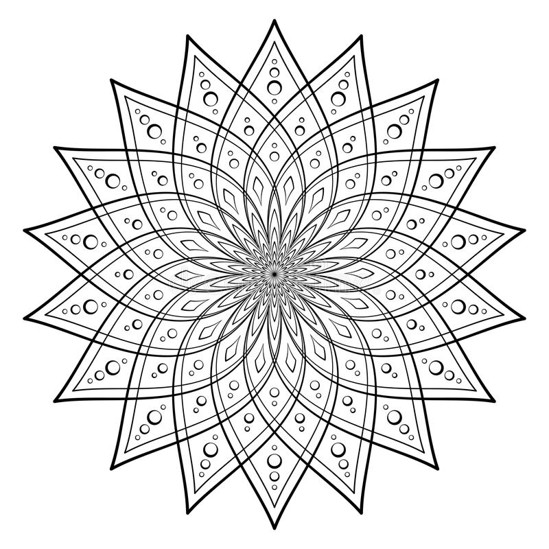 Vector Illustration - Template of Mandala for coloring. Round Ornament Pattern. Square Coloring Page. stock illustration