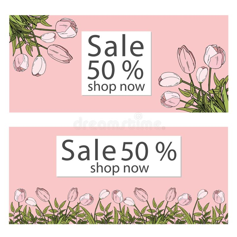 Vector illustration template. sale banners collection for social media banners, web design, shopping on-line, posters, email and royalty free illustration