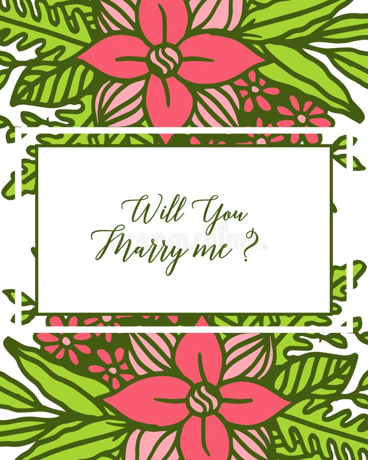 Vector illustration template will you marry me with art leaf wreath frame. Hand drawn royalty free illustration
