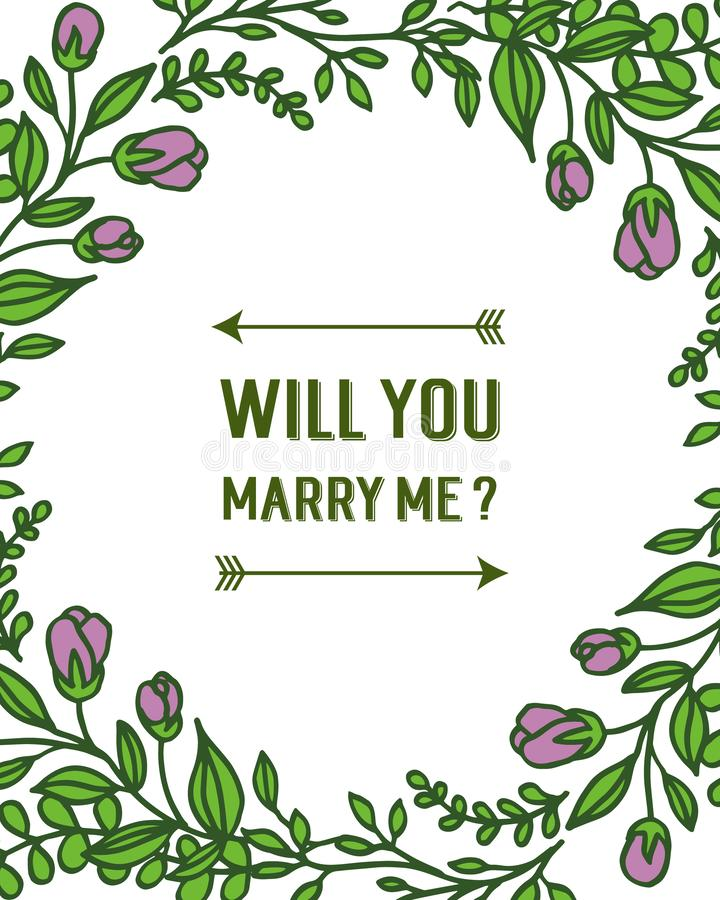 Vector illustration template will you marry me for art purple wreath frame. Hand drawn stock illustration