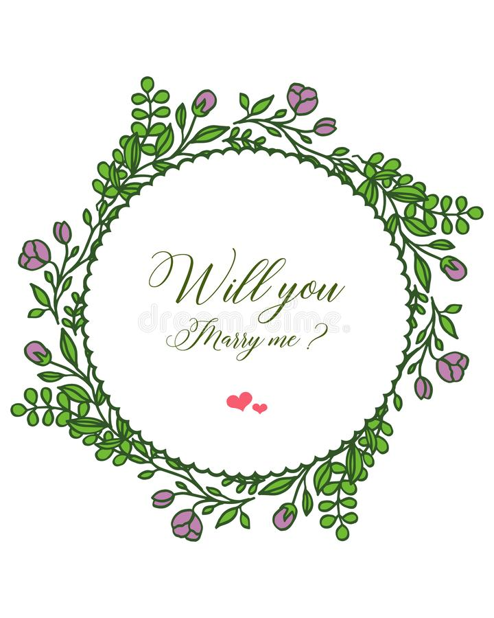 Vector illustration template will you marry me for art purple wreath frame. Hand drawn vector illustration