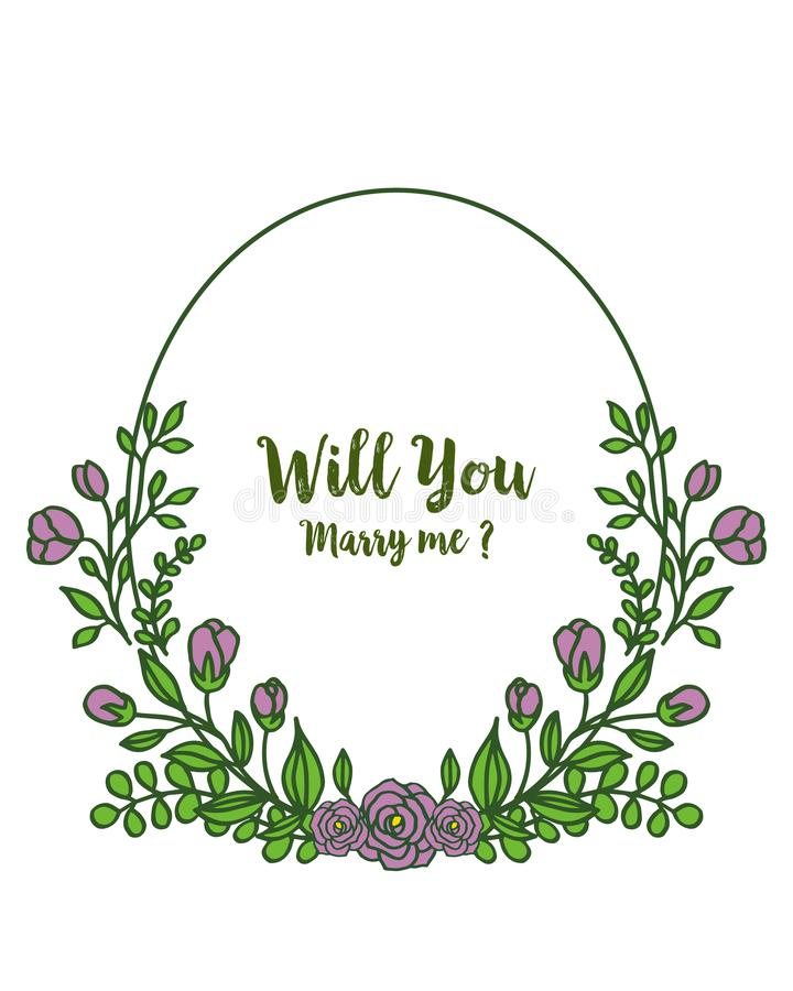 Vector illustration template will you marry me for art purple wreath frame. Hand drawn royalty free illustration