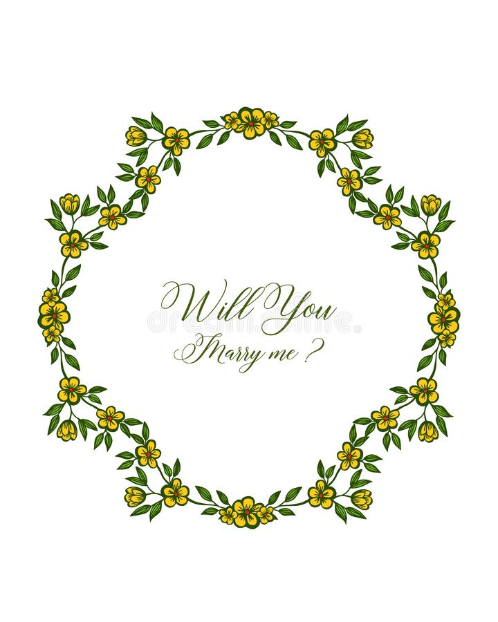 Vector illustration template will you marry me with art yellow flower frame. Hand drawn stock illustration