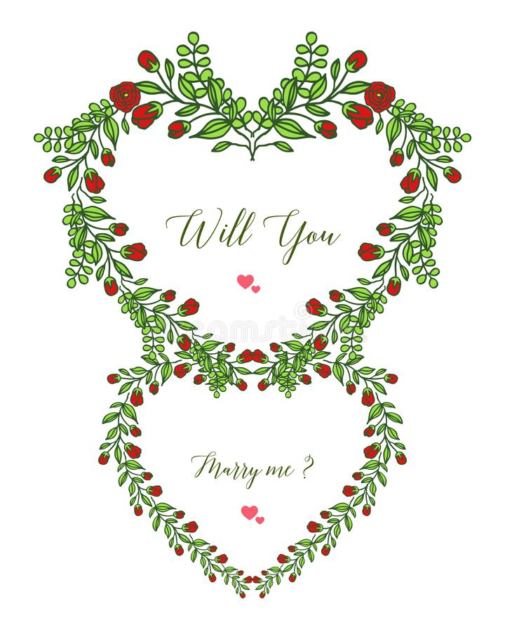 Vector illustration template will you marry me with ornate frame fllower red and leaves green. Hand drawn stock illustration