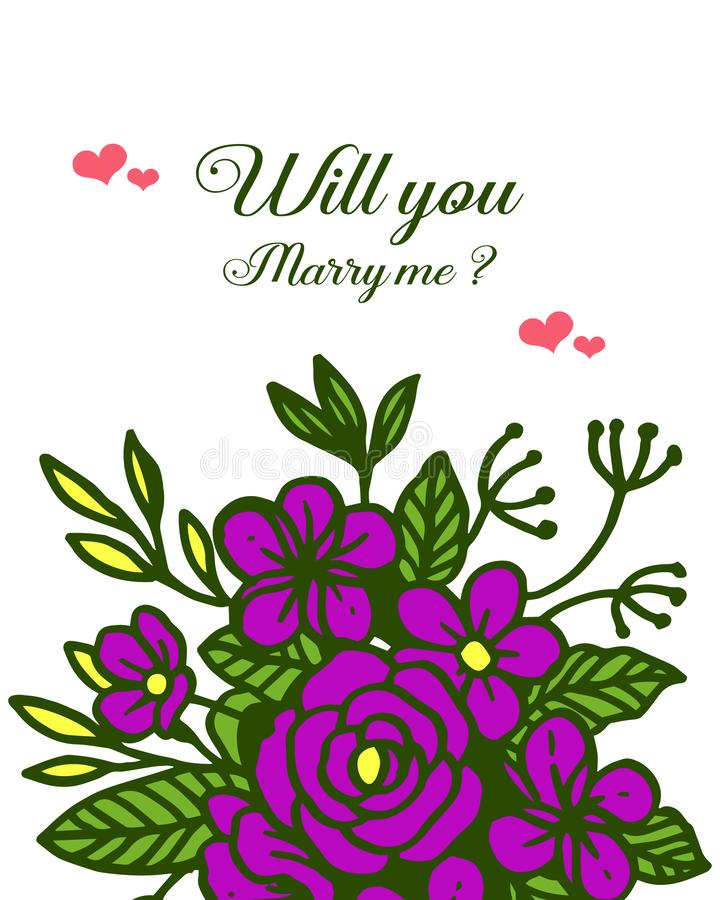 Vector illustration template will you marry me with various design purple flower frame. Hand drawn vector illustration