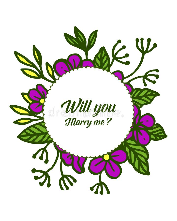 Vector illustration template will you marry me with various design purple flower frame. Hand drawn royalty free illustration