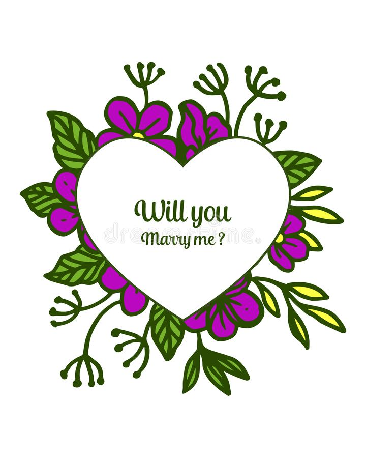 Vector illustration template will you marry me with various design purple flower frame. Hand drawn stock illustration