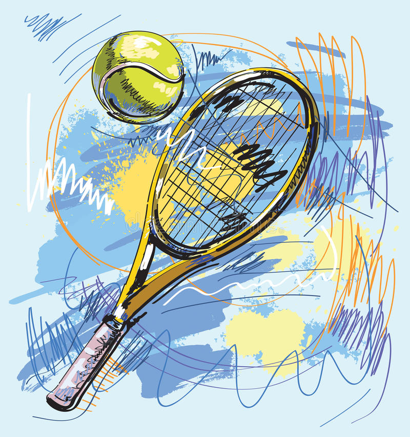 Download Vector Illustration - Tennis Racket And Ball Stock Vector - Illustration of sketchy, racket: 20869110