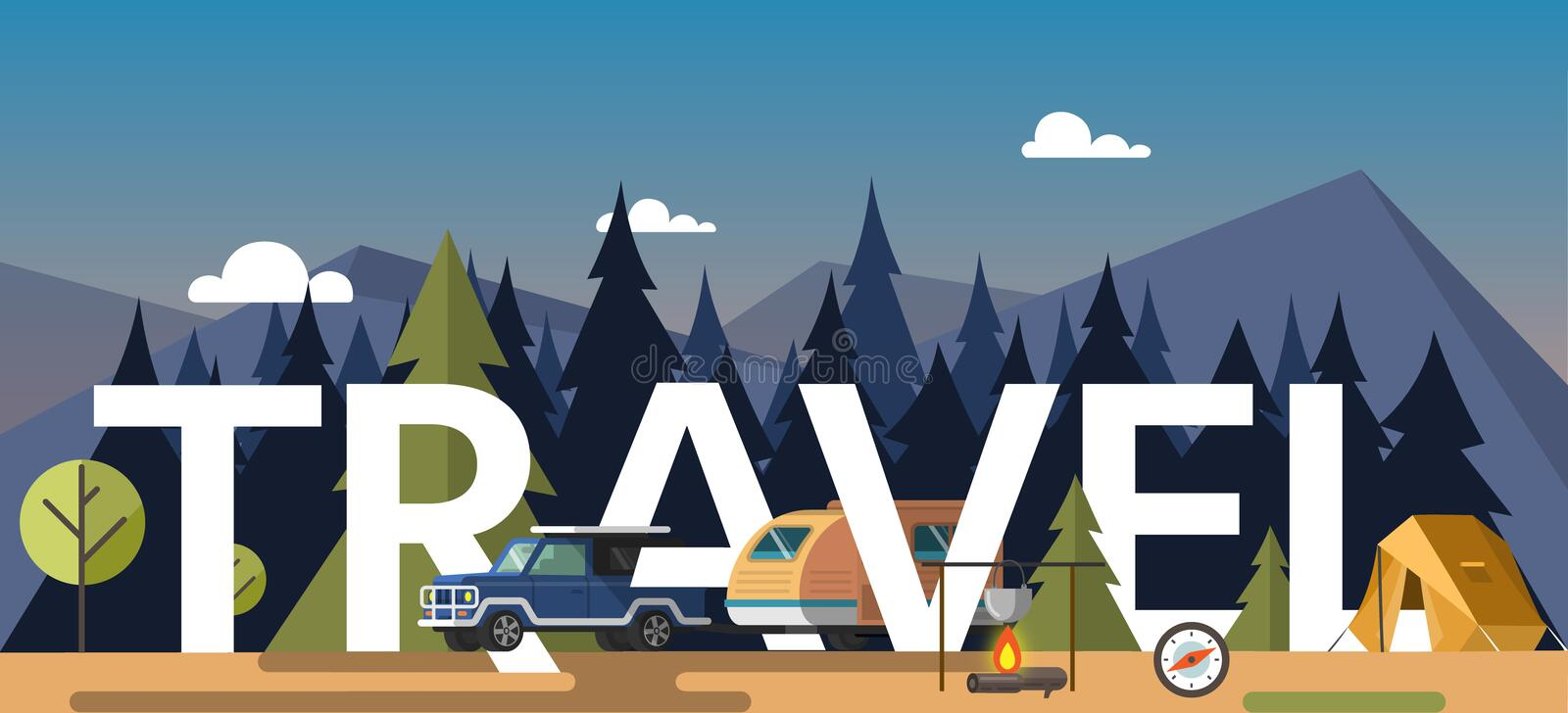 Vector illustration of tent at bonfire and car parked in forest with travel word. stock illustration