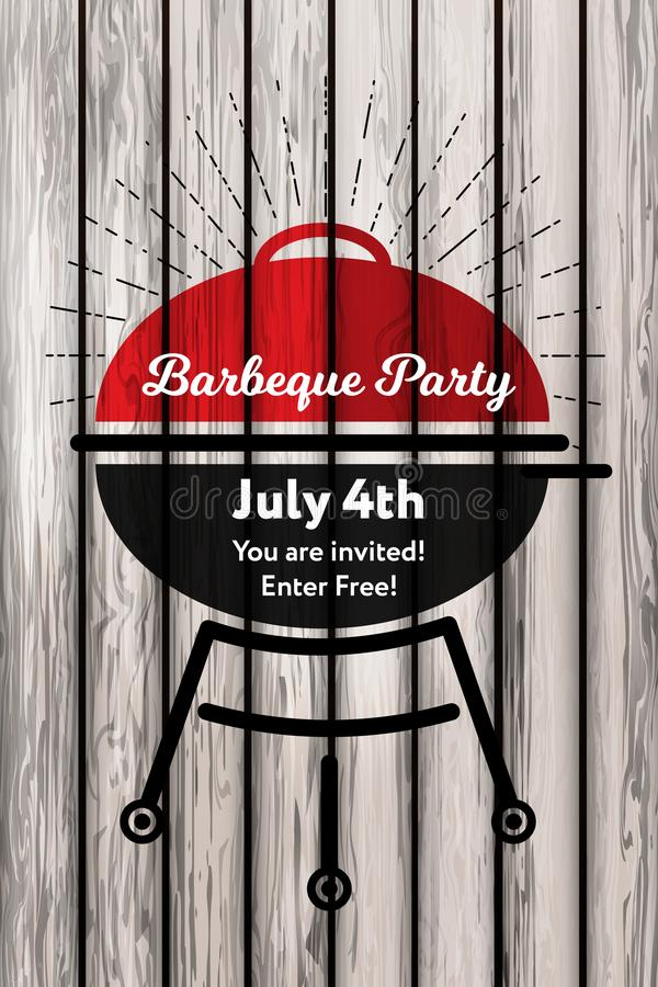 Vector illustration 4th Julyconcept Barbeque party invitation card on the retro background. Bbq party with grill retro vector illustration
