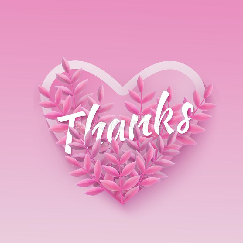 Vector illustration of Thanks word pink natural design with heart shape and plant leaves. vector illustration
