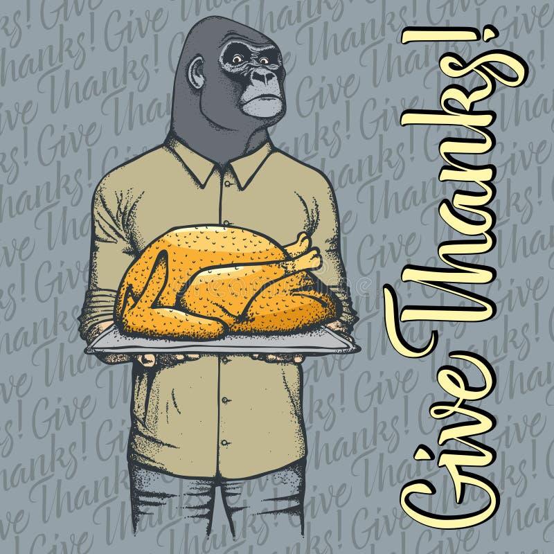 Vector illustration of Thanksgiving monkey concept royalty free illustration