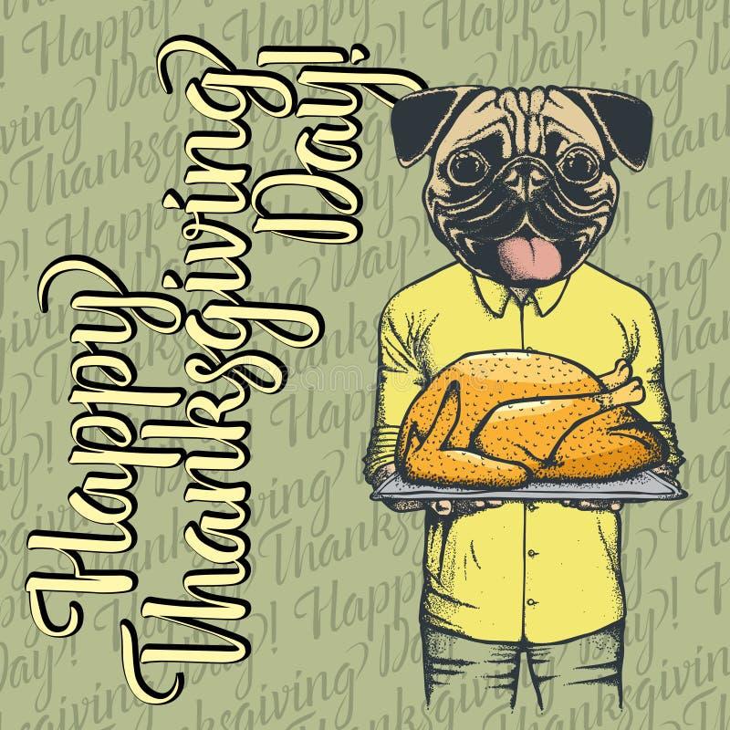 Vector illustration of Thanksgiving pug dog concept vector illustration