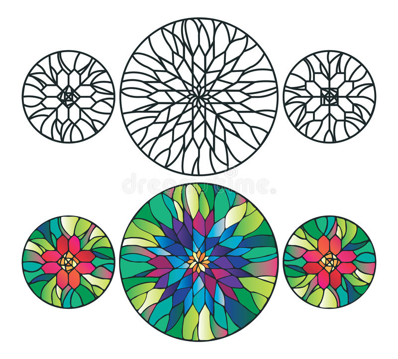 Flower stained glass ornaments vector illustration royalty free illustration