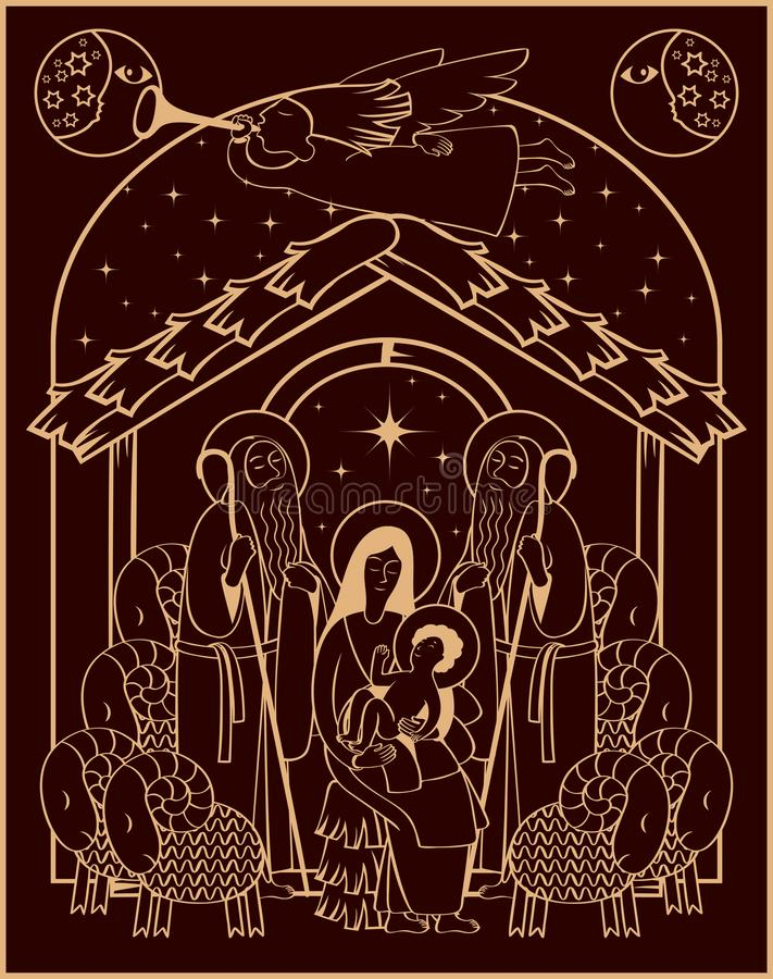 Adoration of the Magi. Mary and Jesus stock illustration