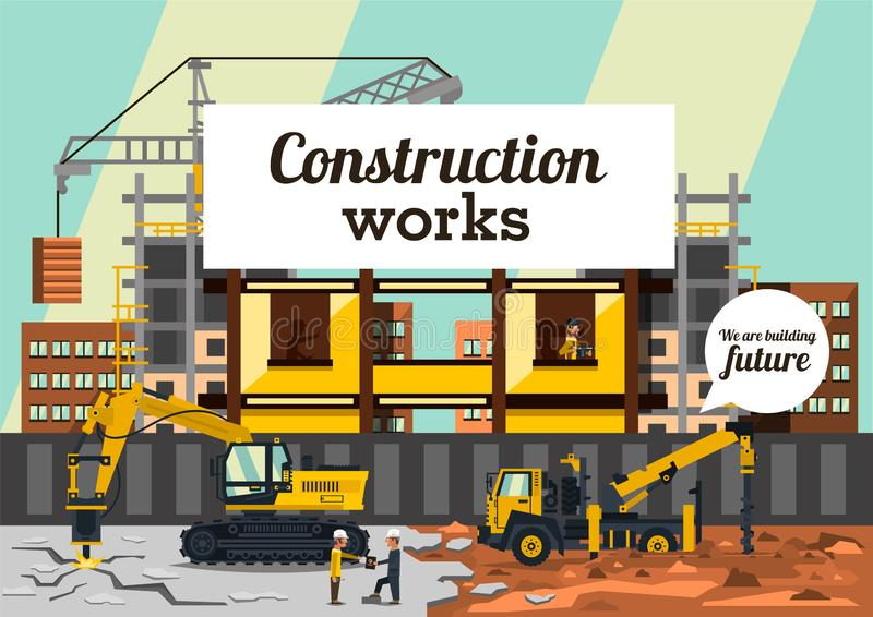 Vector illustration on the theme of a construction site. Construction of the building on background of the city stock illustration