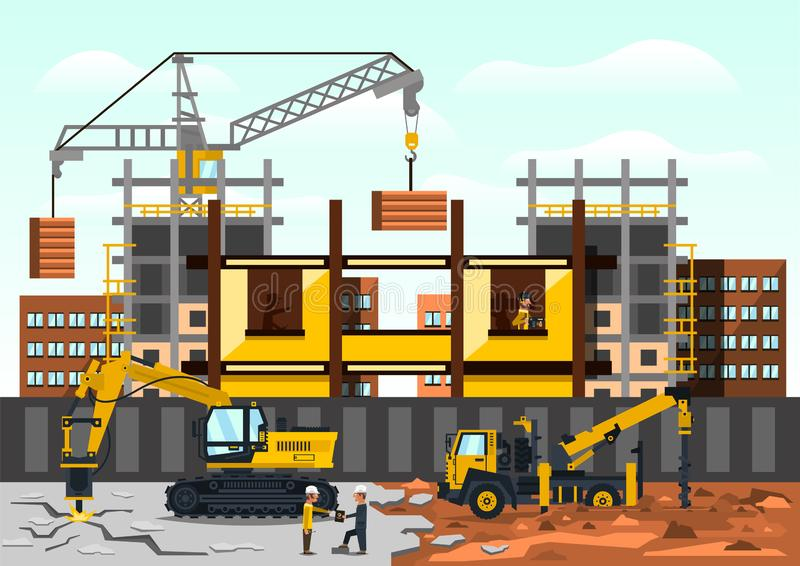 Vector illustration on the theme of a construction site. Construction of the building on background of the city vector illustration