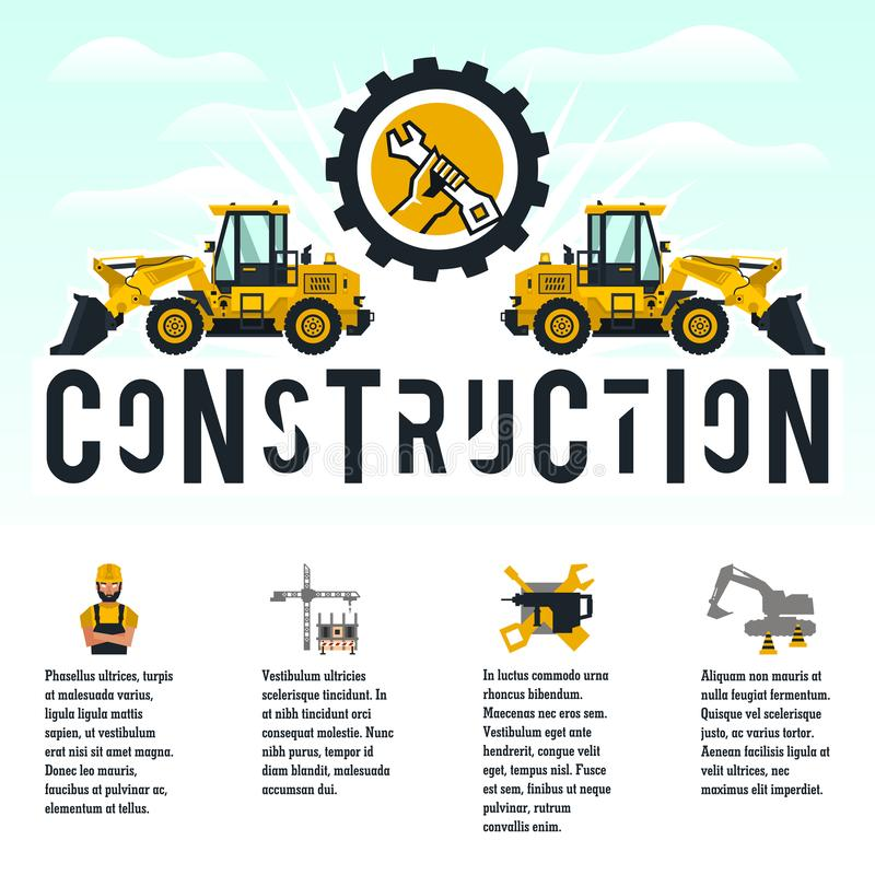 Vector illustration on the theme of a construction site. Icons of tools, equipment, worker, technology. Template for. Text. Banner with the production of stock illustration