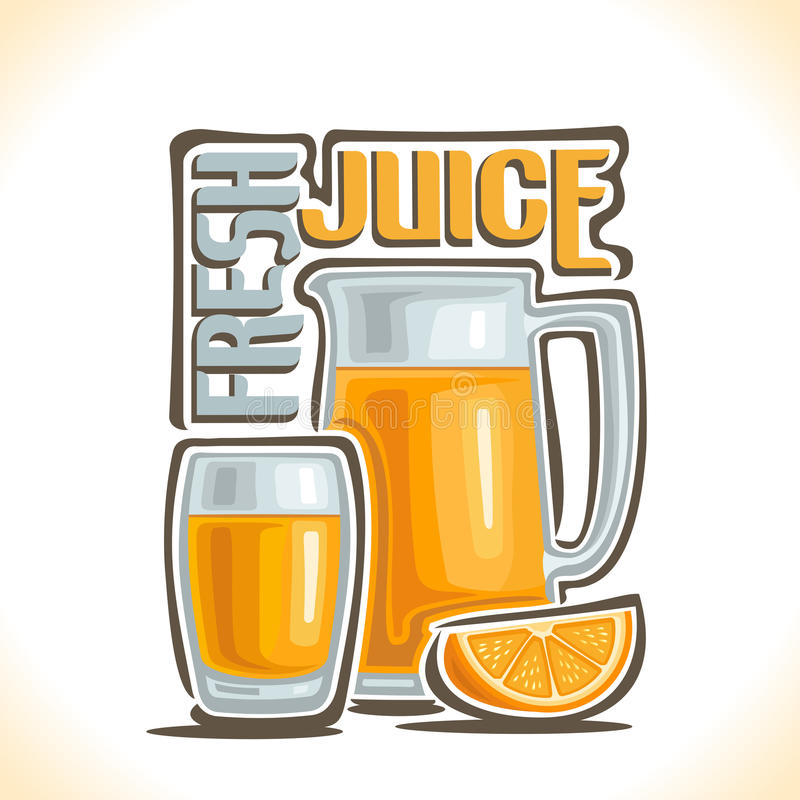 Vector illustration on the theme of the logo for fresh juice vector illustration