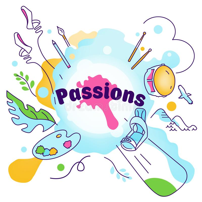 Vector illustration on the theme of various interests, hobbies, passion of people. Sport, art, ballet, skateboarding, mountains, royalty free illustration