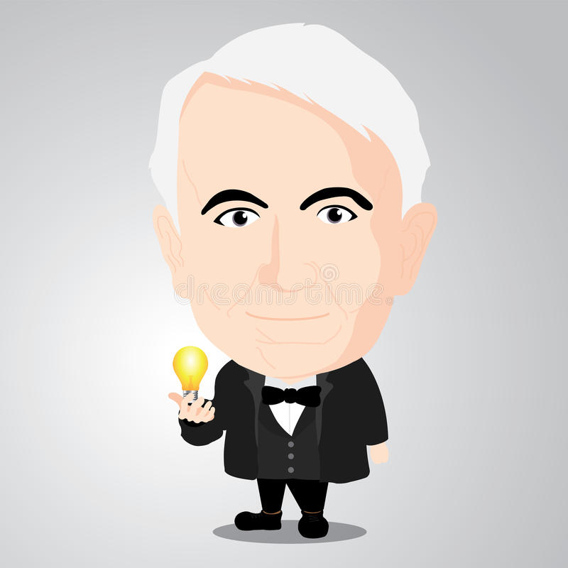 Vector illustration - Thomas Alva Edison. Thomas Alva Edison Cartoon Character with Illustrator royalty free illustration